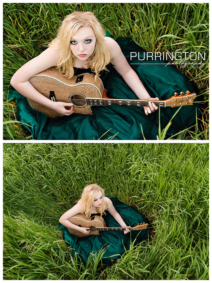girl in grass field with guitar