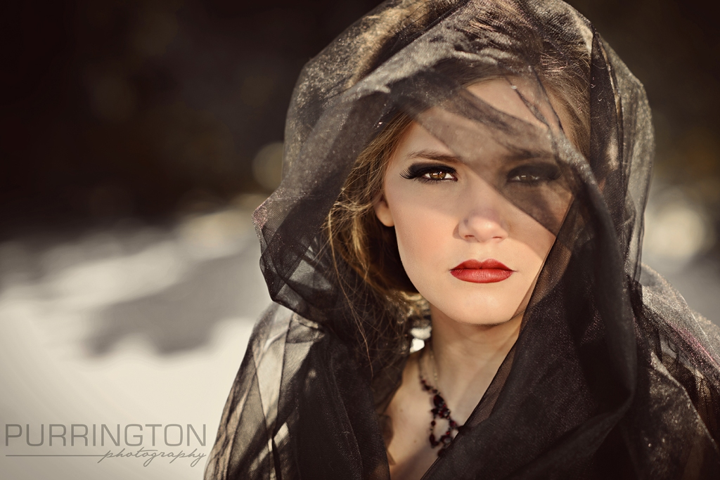 black tulle scarf for teen model photo