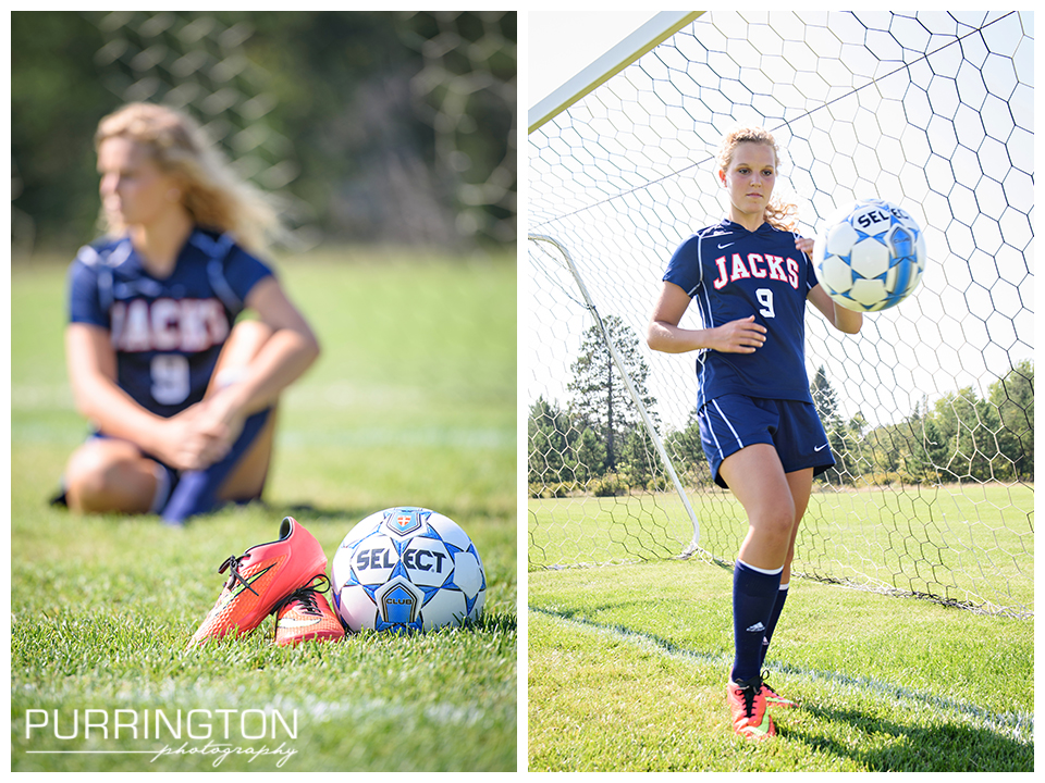creative ideas for high school senior pictures with soccer ball and field and shoes © Purrington Photography www.PurringtonPhotography.com Bemidji Northern Minnesota MN Senior Portrait Photographer