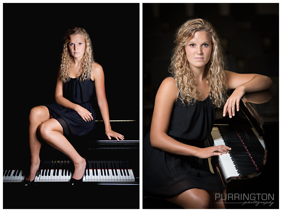 high school senior girl woman in black dress with piano keyboard pose poses idea ideas creative unique fun © Purrington Photography www.PurringtonPhotography.com Bemidji Northern Minnesota MN Senior Portrait Photographer