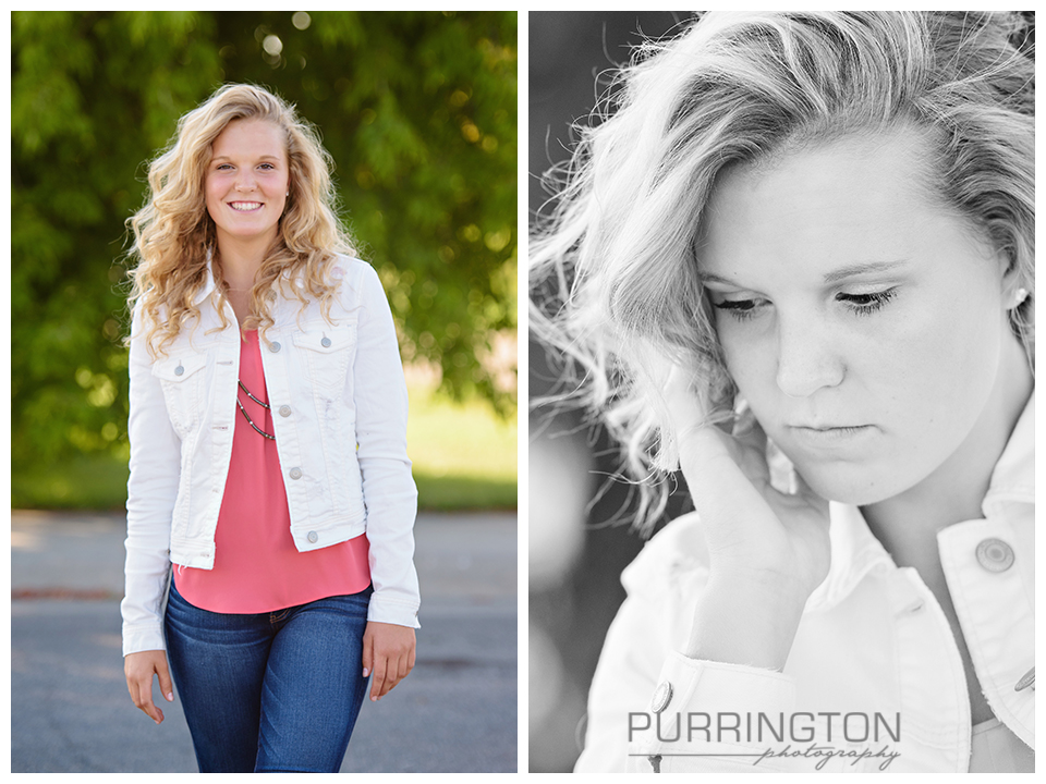 High school senior photos outfits outfit white jean jacket and jeans with hair down in soft curls and green background Pose poses idea ideas Bemidji Photographer © Purrington Photography www.PurringtonPhotography.com Bemidji Northern Minnesota MN Senior Portrait Photographer