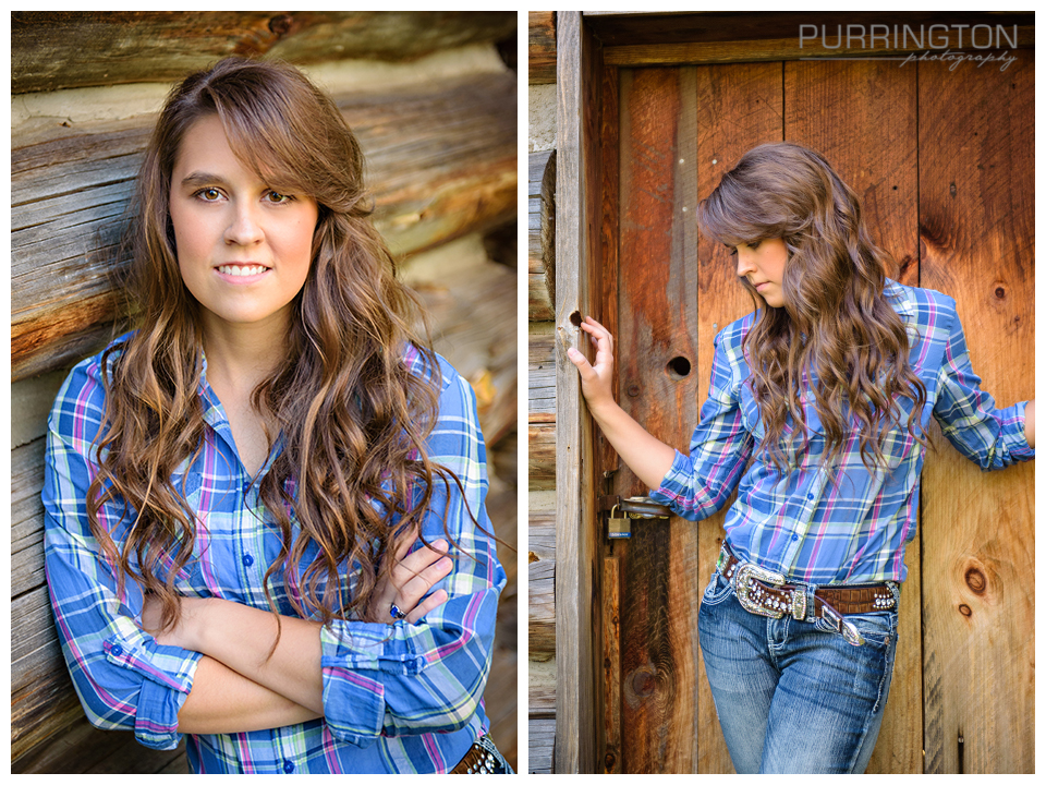 high school girl in blue plaid shirt in front of cabin with big belt