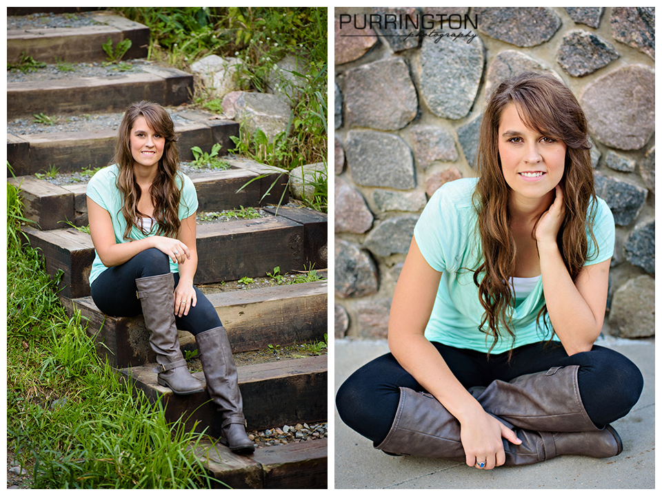 great pose for senior girl with boots and stairs