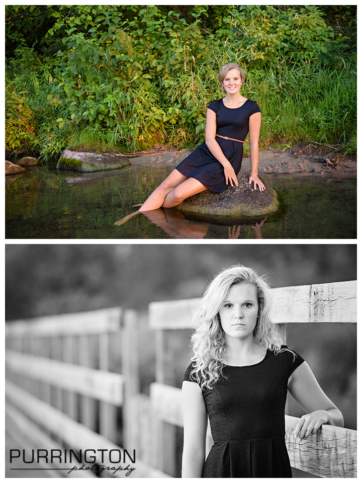 high school senior on rock in lake with green background and on bridge in black dress. Poses ideas for senior pictures. What to wear. © Purrington Photography www.PurringtonPhotography.com Bemidji Northern Minnesota MN Senior Portrait Photographer