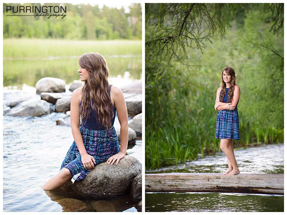 itasca headwaters senior pictures girl on rock in water bemidji photographer