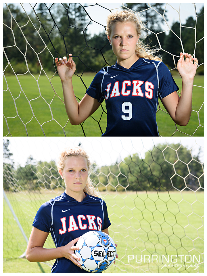 High school senior soccer ball field net idea ideas pose poses with Bemidji Lumberjacks © Purrington Photography www.PurringtonPhotography.com Bemidji Northern Minnesota MN Senior Portrait Photographer