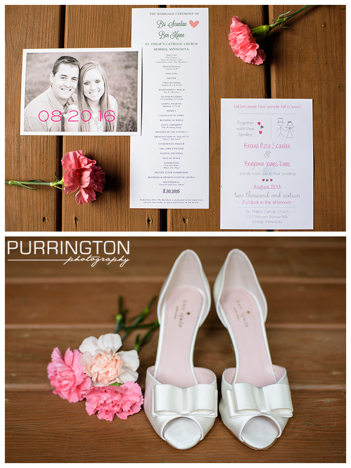 pink and white wedding stationary