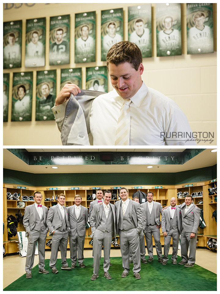 groom getting ready at bsu hockey sanford center