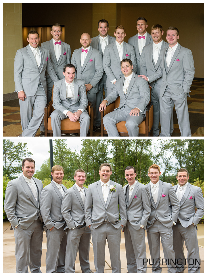 groom and groomsmen pose gray suits