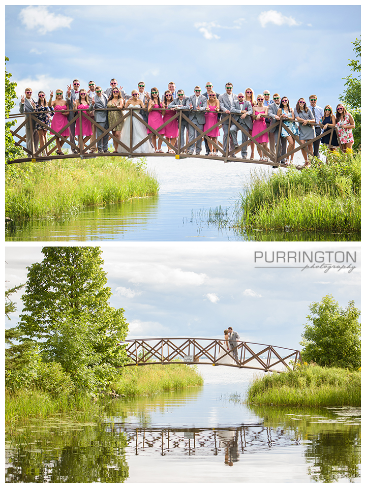 lake bemidji state park bridal wedding party bride and groom bridge